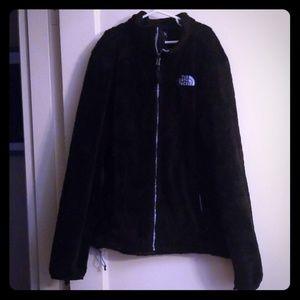 North Face  black soft fleece fuzzy zip up med.